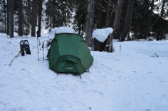 The last photo before my camera died - a shaky picture of a shaky tent